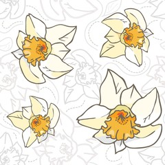Seamless vector flowers pattern. Vintage, yellow daffodils