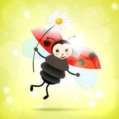 Keuken foto achterwand Lieveheersbeestjes Ladybug with daisy