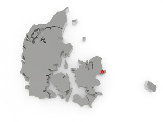 Three-dimensional map of Denmark.