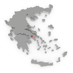 Three-dimensional map of Greece.