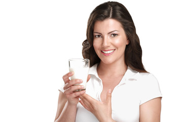 young beautiful woman drink a glass of milk
