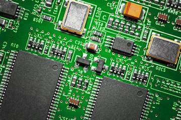 Close-up of electronic circuit board. Macro .