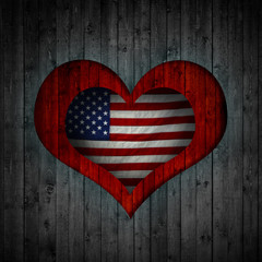Heart and wood background american flag