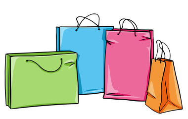 vector shopping bag: green, blue, pink and orange