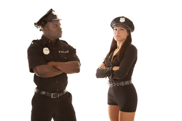 Man and woman cop mad