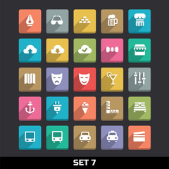 Trendy Vector Icons With Long Shadow Set 7