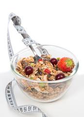 Diet weight loss concept. Muesli cereals bowl