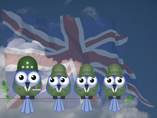 Comical UK bird General and Soldiers