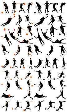 soccer silhoette set