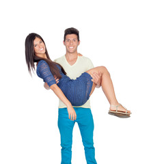 Young man carrying his girlfriend in his arms