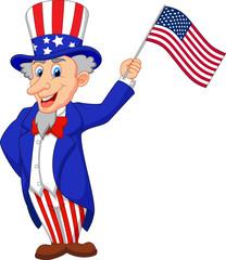 Uncle Sam cartoon holding American flag