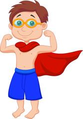 Boy pretending to be a Super Hero