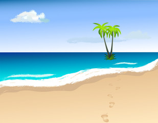 Palm trees on the island. Vector image.