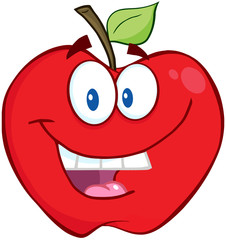 Smiling Apple Cartoon Mascot Character