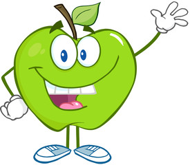 Smiling Green Apple Cartoon Mascot Character Waving For Greeting