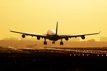 Poster Avion à Moteur Airplane sunrise landing