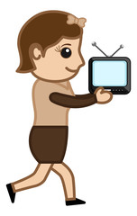 Girl Running with TV - Vector Illustration