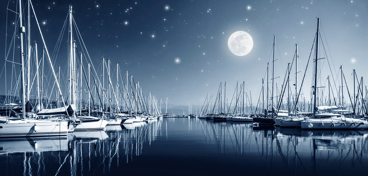 Yacht harbor at night