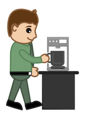 Coffee - Office Character - Vector Illustration