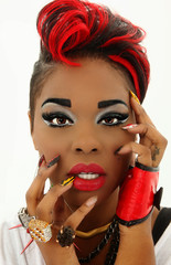 Beautiful Colorful Black Woman Face, Manicure, Designer Nails