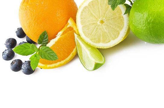 Orange lemon grapefruit and lime sliced on the white