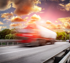red truck on the bridge