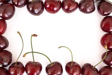 Cherries frame on white background