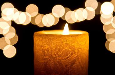 Candle light closeup with bokeh