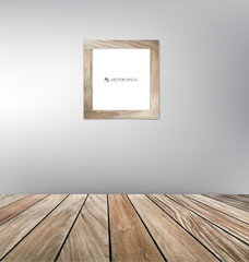 Wood frame and wood floor. Vector illustration.