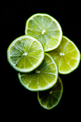 Lime isotated in black background