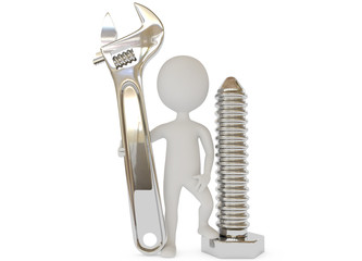3d humanoid character with wrench and screw
