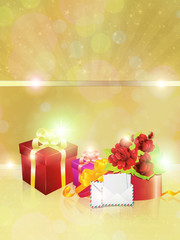 Gift boxes on gold background
