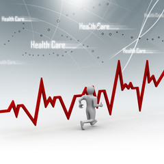 Running men with heart beat graph in abstract background.