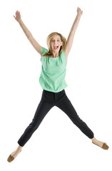 Excited Woman With Arms Raised In Mid-Air