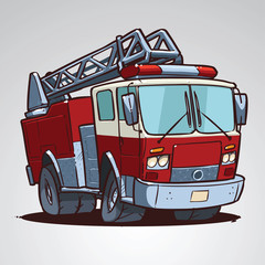 Cartoon fire truck isolated