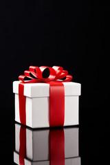 gift box on black background.