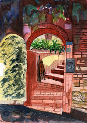 watercolor garden doors