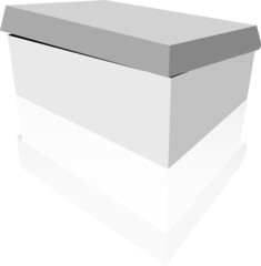 White box with reflection, on white background