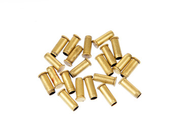 Bullet casings on the white background