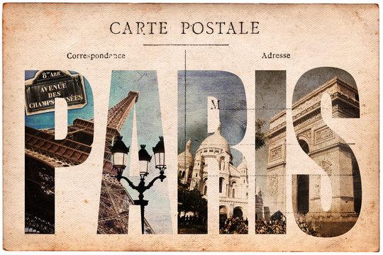Carte postale ancienne, collage monuments Paris
