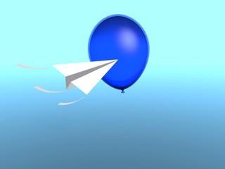 ballon with paper plane