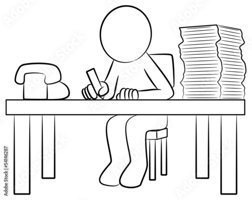 Schreibtisch gezeichnet  Mann bei der Arbeit am Schreibtisch