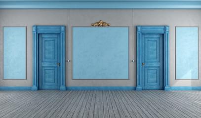 Empty  blue vintage interior