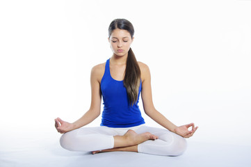 Yoga girl on a white background