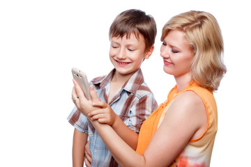 Young mother and son with smartphone