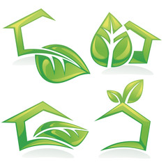 vector set of ecological houses and homes, symbols, signs and ic
