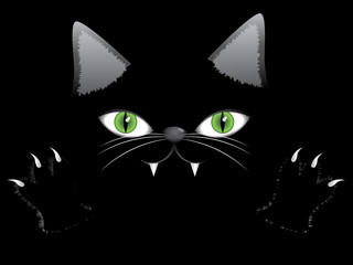 Black cat face with paw