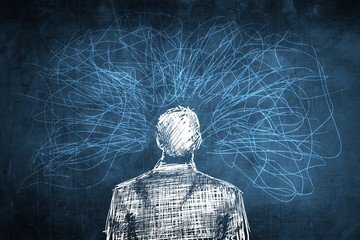 Sketch confused businessman concept, lot of crazy lines