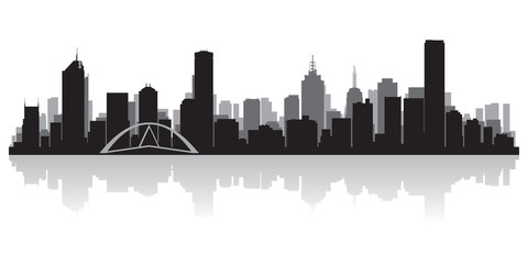 Wall Mural - Melbourne Australia city skyline vector silhouette