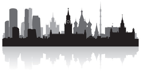 Fototapete - Moscow city skyline vector silhouette